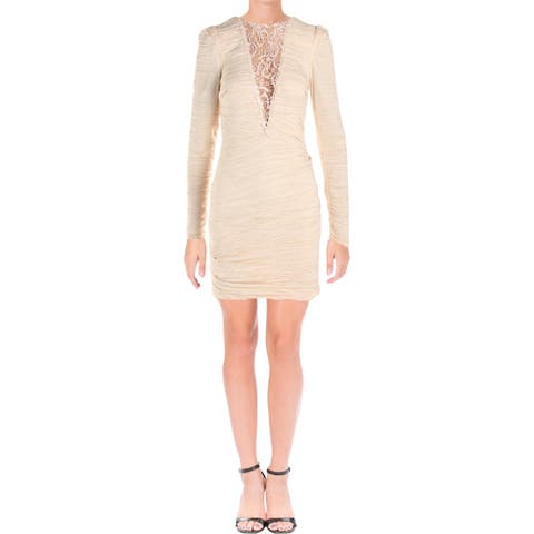 Free People Womens Look of Love Bodycon Dress Ruched Lace Inset