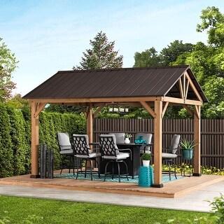 Link to Sunjoy Cedar Framed Gabled Hardtop 10 foot x 12 foot Gazebo Similar Items in Grills & Outdoor Cooking