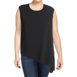 Anne Klein Womens Casual Top Asymmetric Cap Sleeves