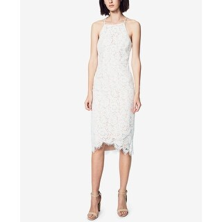 Fame And Partners NEW White Womens Size 8 Halter Lace Sheath Dress