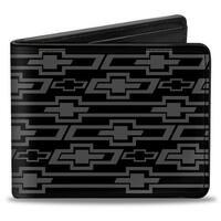 Retro Chevy Bowtie Diagonal Monogram Black Gray Bi Fold Wallet - One Size Fits most