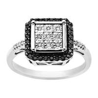 1/5 ct Black & White Diamond Cushion Ring in Sterling Silver