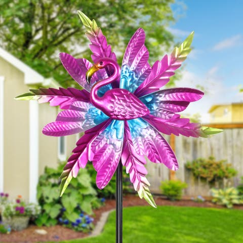 Exhart Metallic Pink Kinetic Flamingo Garden Stake with Double Spinning Feathers, 19 by 63 Inches