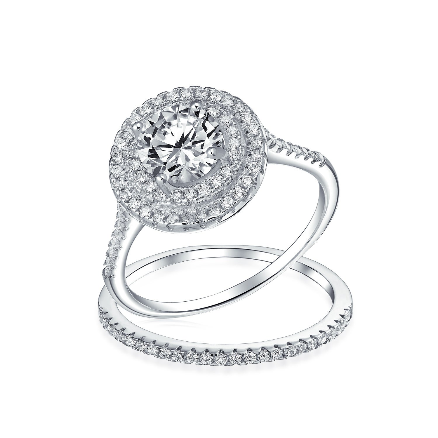 Oval Cubic Zirconia Center with All Around CZ Stones Double Band Wedding Wedding Ring Sterling Silver