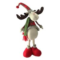 "28.5"" Red and Green Plaid 2 Leg Standing Decorative Deer"