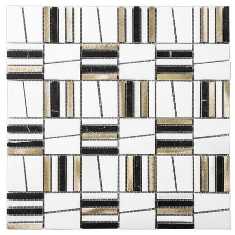 TileGen. Skyview Random Square Mixed Material Tile in White/Gold/Black Floor and Wall Tile (1/8 inches sheets/10sqft.)