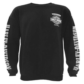 Harley-Davidson Men's Lightning Crest Fleece Pullover Sweatshirt, Black