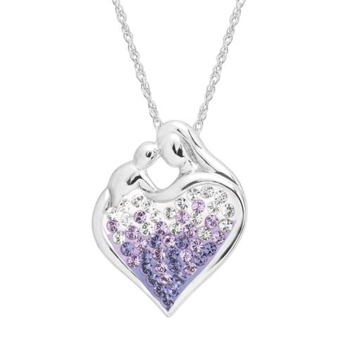 Crystaluxe Mother & Child Pendant with Purple Swarovski Crystals in Sterling Silver