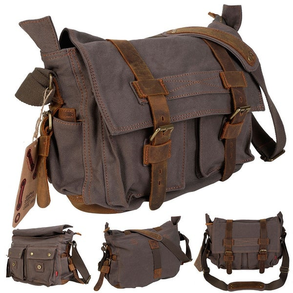 c3c3819c2e5b Costway Men  x27 s Vintage Canvas Leather School Military Shoulder  Messenger Bag (Army