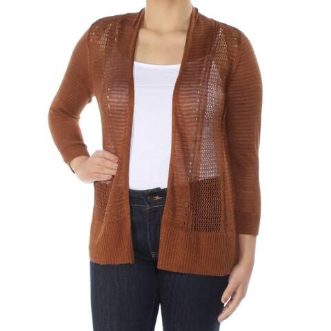 62e0b780e6d ALFANI Womens Brown Long Sleeve Open Cardigan Sweater Size  S
