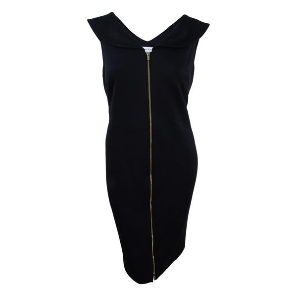 3e09ae47 Shop Calvin Klein Women's Plus Size Shawl-Collar Scuba Knit Zip Sheath Dress  - Black - On Sale - Free Shipping Today - Overstock - 21724965