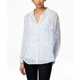 Two by Vince Camuto Womens Button-Down Top Crepe Printed