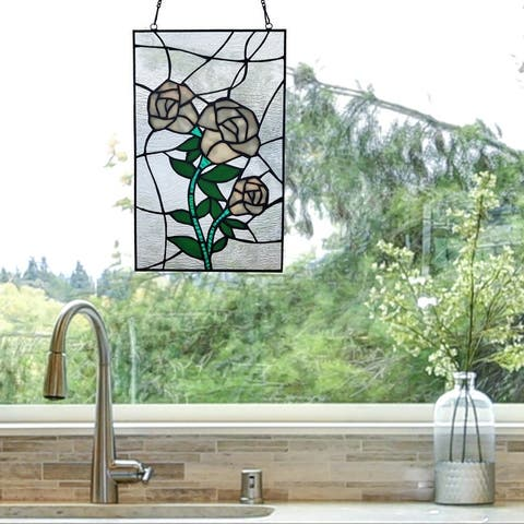 """River of Goods 13""""H Friendship Garden Stained Glass Window Panel"""