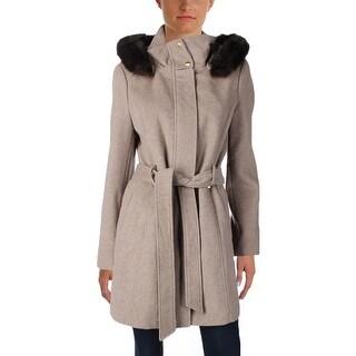 Ellen Tracy Womens Trench Coat Wool Blend Faux Fur