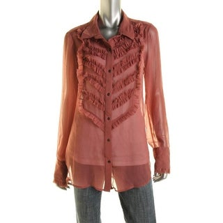 Free People Womens Chiffon Ruffled Blouse - M