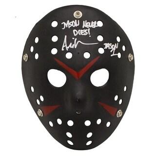Ari Lehman Autographed Friday The 13th Replica Black Mask Jason Never Dies BAS