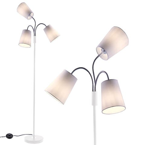 3 Light Adjustable Floor Lamp with Fabric Lamp Shade - L:36 in. x W:36 in. x H:68.90 in.