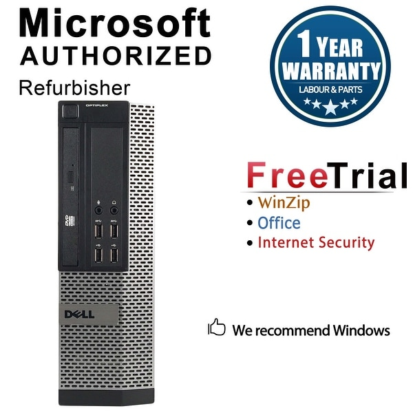 Dell OptiPlex 7010 Desktop Computer SFF Intel Core I3 3220 3.3G 8GB DDR3 1TB Windows 7 Pro 1 Year Warranty (Refurbished) - Black