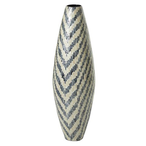 "Tall Modern Oval Capiz Shell Vase w White and Blue Chevron Patterned 11"" X 33"" - 11 x 10 x 33"