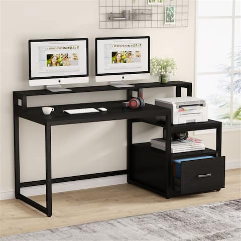 59 Inches Computer Desk with File Drawer and Storage Shelves