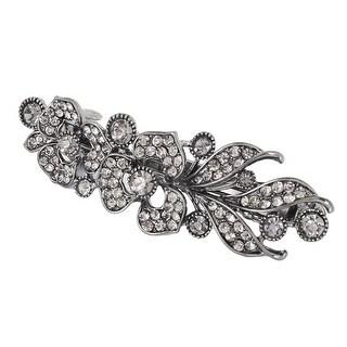 Lady Metal Flower Decor Sparkle Rhinestone Garnish French Hair Clip Sliver Tone