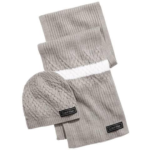 Calvin Klein Mens Hat & Scarf Set Knit Varsity Cap - Grey Heather - O/S