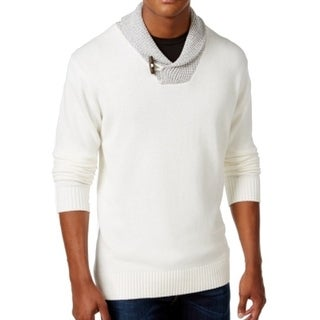 Weatherproof NEW White Off Mens Size 2XL Shawl Collar Pullover Sweater
