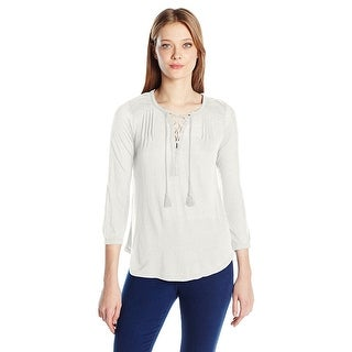 Lucky Brand Lace Up 3/4 Sleeve Peasant Top Shirt - l