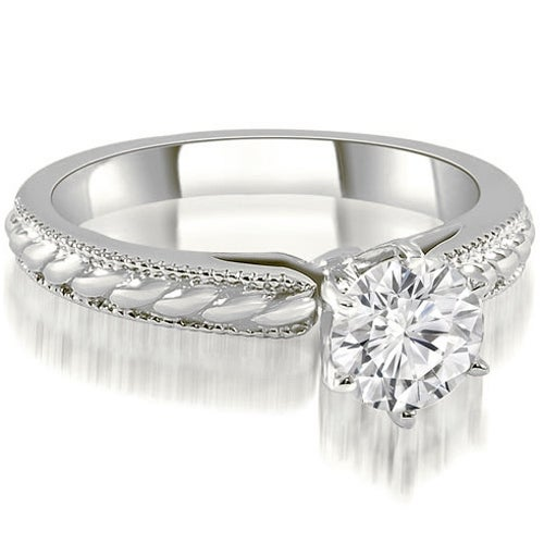 0.50 cttw. 14K White Gold Cathedral Solitaire Round Diamond Engagement Ring