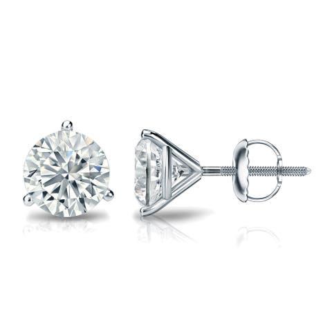 Ethical Sparkle 1 3/8ctw Lab Grown Diamond Stud Earrings 14k Gold Martini-set