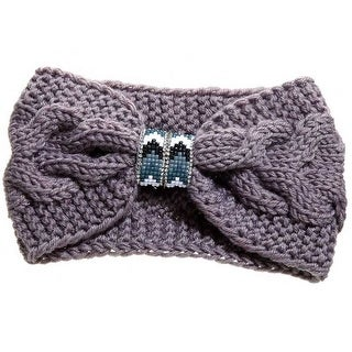 Mad Style Grey Beaded Cableknit Headband