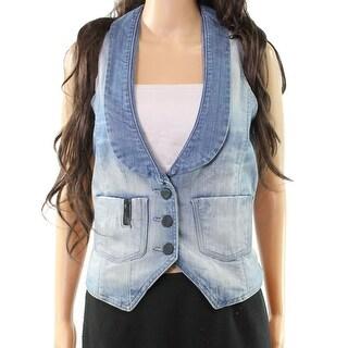Black Orchid Blue Women's Size Medium M 3-Button Denim Jacket Vest