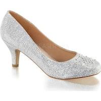 Fabulicious Women's Doris 06 Pump Silver Glitter Mesh Fabric