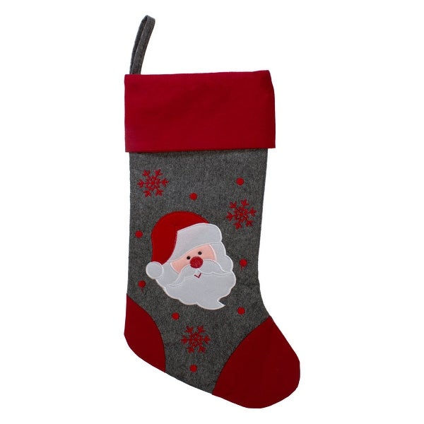 "19"" Gray and Red Embroidered Santa Claus Christmas Stocking. Opens flyout."