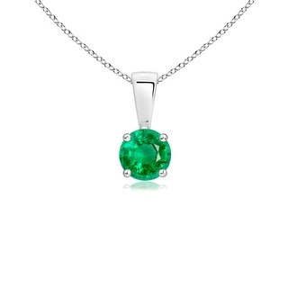 Angara Prong Set Round Emerald Solitaire Pendant - Green