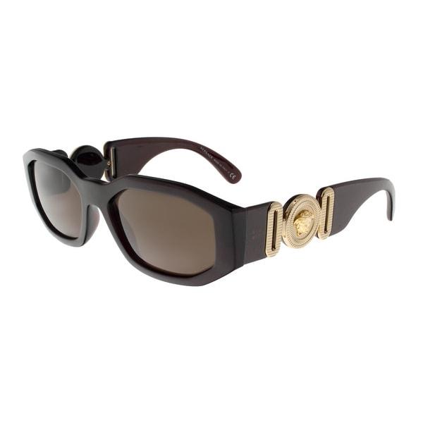 6cf0015465 Shop Versace VE4361 388 73 TRANSPARENT RED Irregular Sunglasses - 53 ...
