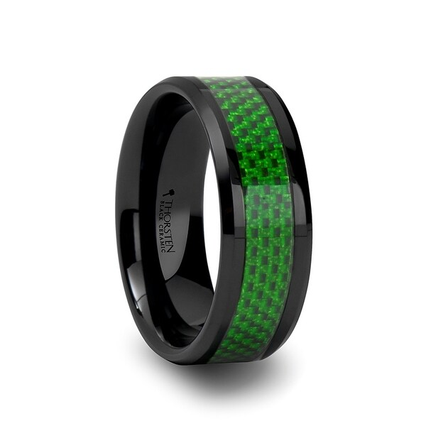 MATLAL Beveled Black Ceramic Ring with Emerald Green Carbon Fiber Inlay