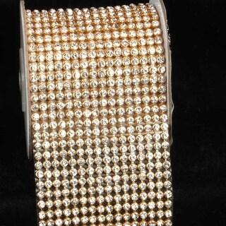 "Crystal Diamond Craft Ribbon Trim with Gold Setting 2.75"" x 1 Yard"