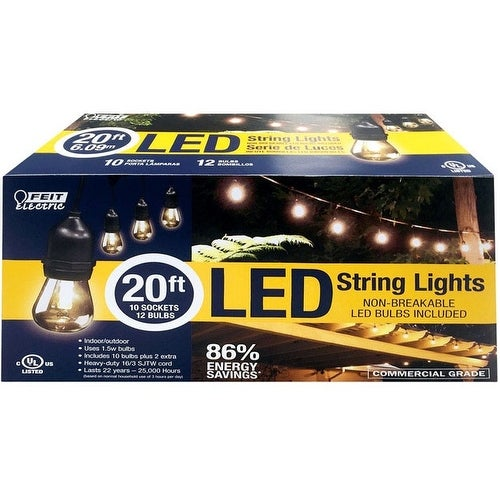 FEIT Electric 72026 LED Lantern Light String, Clear, 20'