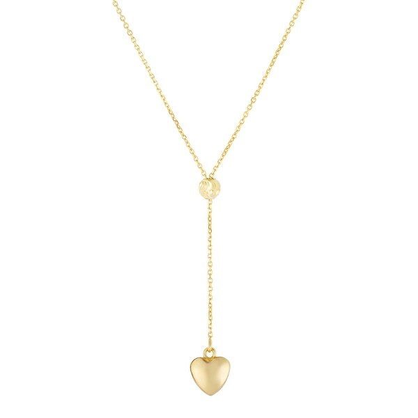"Mcs Jewelry Inc 14 KARAT YELLOW GOLD DROP PUFFED HEART PENDANT NECKLACE (18"")"