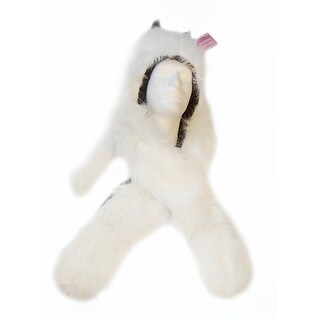 Wolf Costume Hat With Mittens: White One Size
