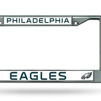 Philadelphia Eagles Silver Chrome Metal License Plate Cover Frame 6x12 Inches