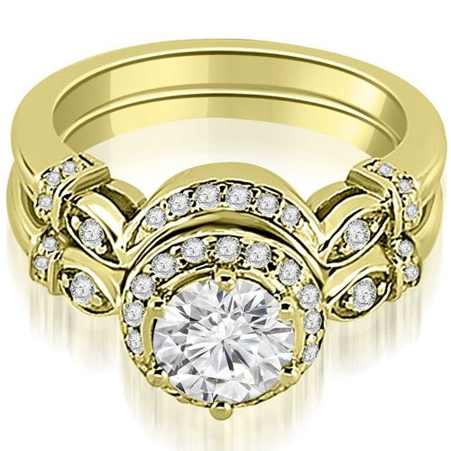 0.77 cttw. 14K Yellow Gold Antique Round Cut Diamond Engagement Set