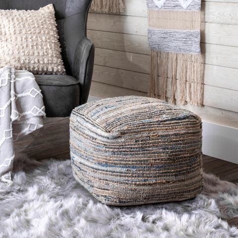 nuLOOM Granada Knitted Casual Denim and Jute Ottoman Pouf