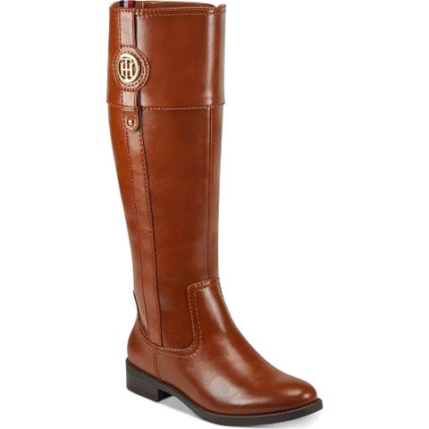 Tommy Hilfiger Womens Imina Wide Calf Riding Boots Faux Leather Knee-High - Medium Brown