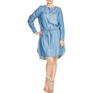 Two by Vince Camuto Womens Plus Casual Dress Chambray Button-Up