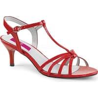 Pleaser Pink Label Women's Kitten 06 T-Strap Sandal Red Patent