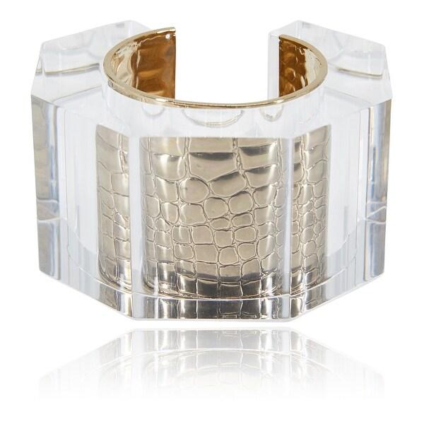 1d81677ed8c Roberto Cavalli Goldtone Metal Snake Cuff Heptagon Plexiglass Bracelet -  GOLD