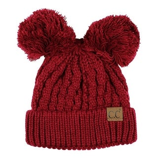 Gravity Threads 2 Pom Pom Cable Knit Soft Stretch Beanie (Option: burgundy)