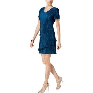 Connected Apparel Womens Petites Cocktail Dress Shimmer Tiered